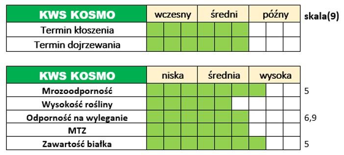 Ważniejsze cechy użytkowo-rolnicze jęczmienia ozimego – KWS KOSMO.