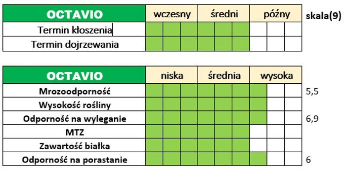 Ważniejsze cechy użytkowo-rolnicze pszenżyta ozimego – OCTAVIO.