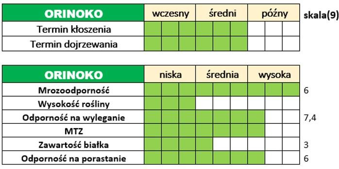 Ważniejsze cechy użytkowo-rolnicze pszenżyta ozimego – ORINOKO.
